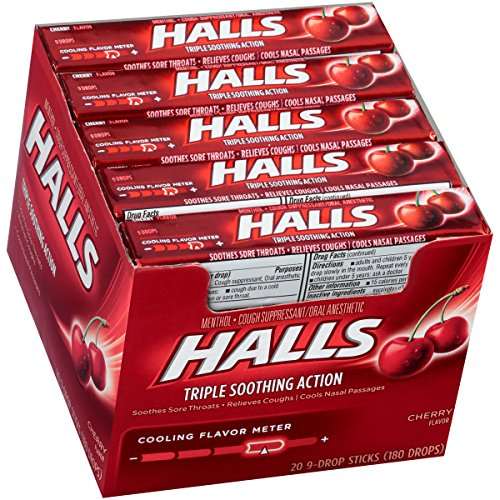 Price comparison product image HALLS Cough Drops, (Cherry, 9 Drops, 20-Pack)