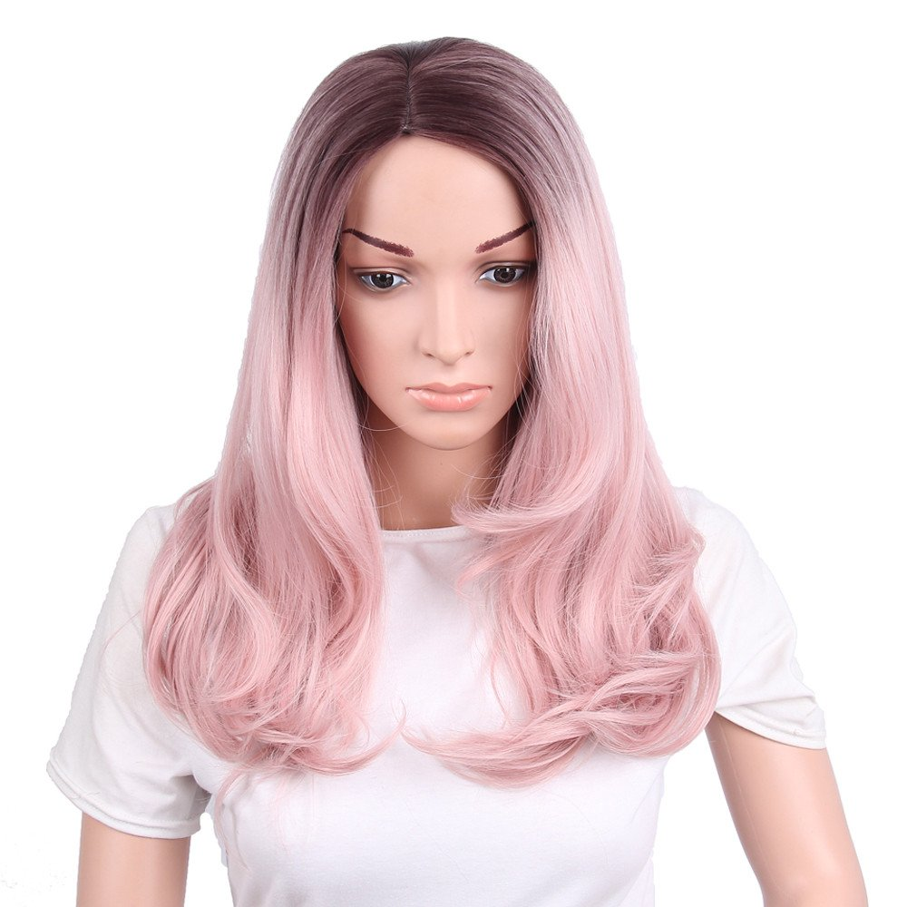 Women Daily Synthetic Pink Root Densely Long Curls Hair Cosplay Party Wig (Pink)