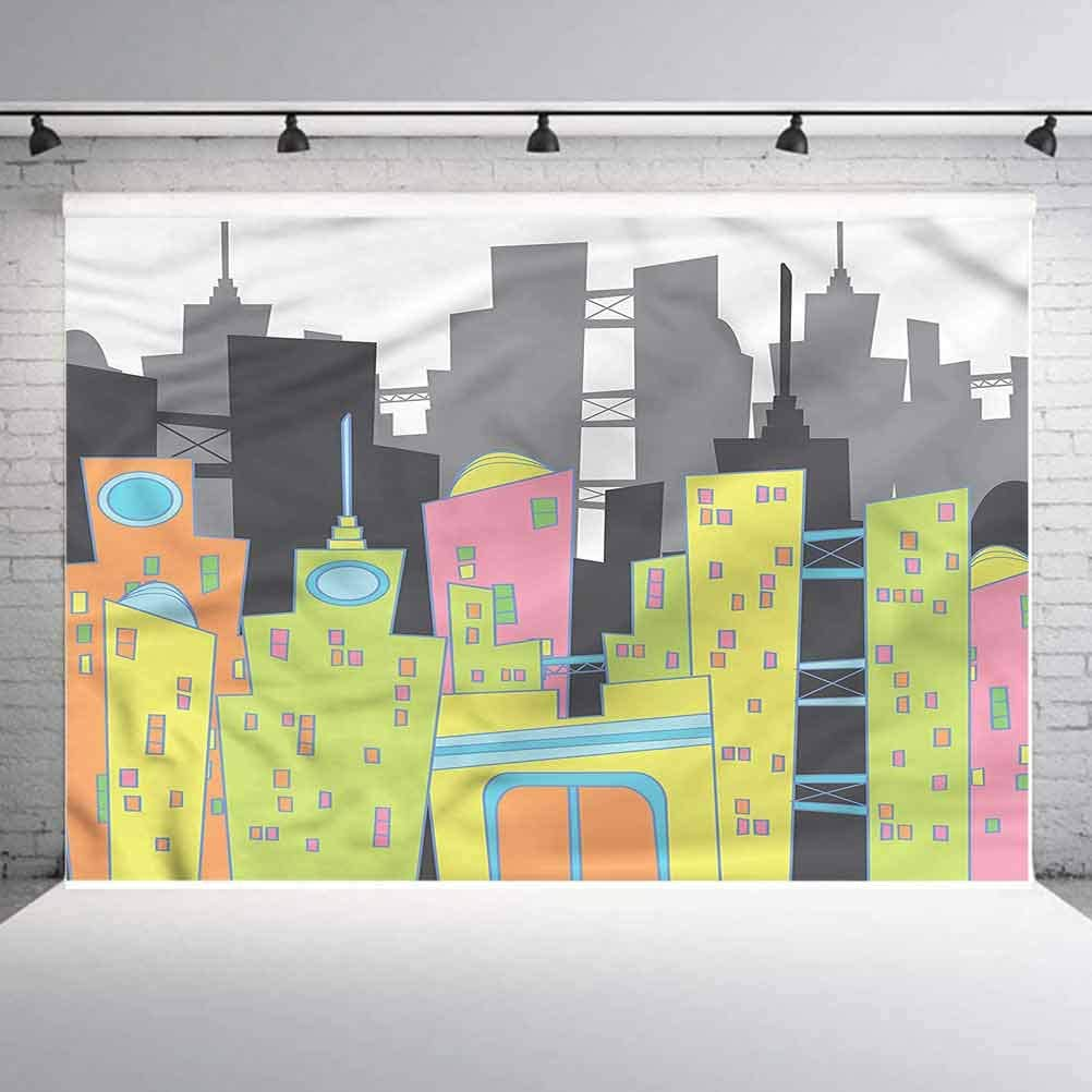 8x8FT Vinyl Wall Photography Backdrop,Urban,Buildings and Skyscrapers Background for Baby Shower Bridal Wedding Studio Photography Pictures