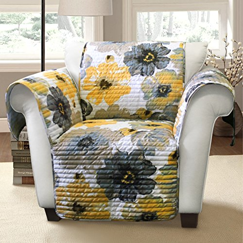 Lush Decor Leah Furniture Protector, Armchair, Yellow/ Gray