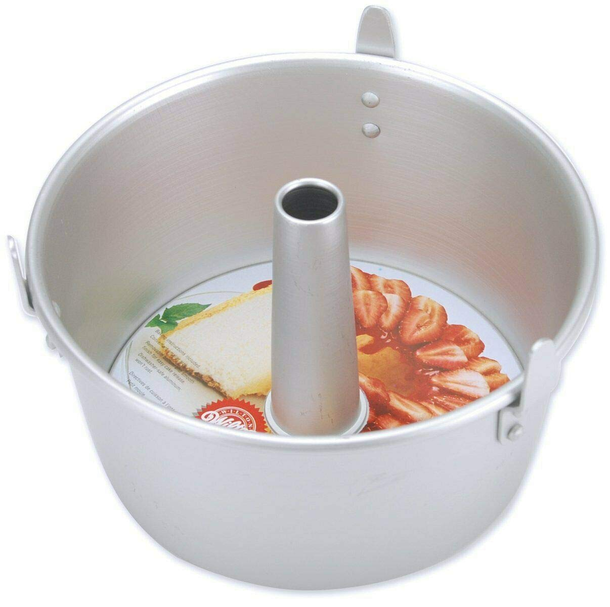 Akkapeary 7x4.5'' 2-Piece Aluminum Angel Food Cake Pan Set w/Removable Inner Sleeve Dishwasher safe Silver