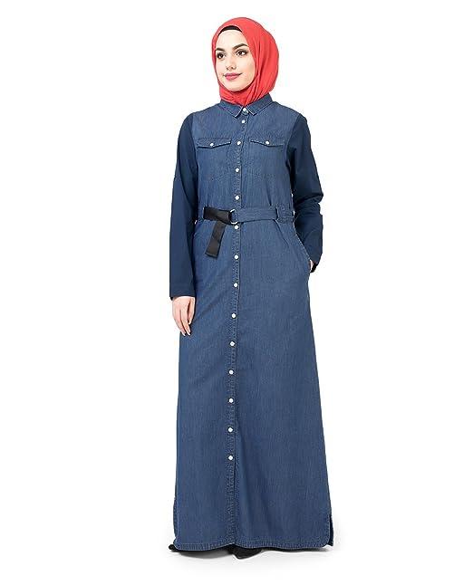 6990f2ce73 Silk Route Women s Fully Buttoned Front Open Denim Urban Maxi Dress Jilbab  (1WJBSRUS0199S58