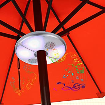 Kingstar Patio LED Umbrella Light Bluetooth Speaker,Rechargeable Outdoor  Parasol Wireless Speakers RGB Color Changing
