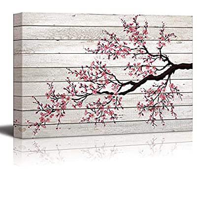 Wonderful Picture, Illustration of a Cherry Blossom Branch Over Wood Panels, With a Professional Touch