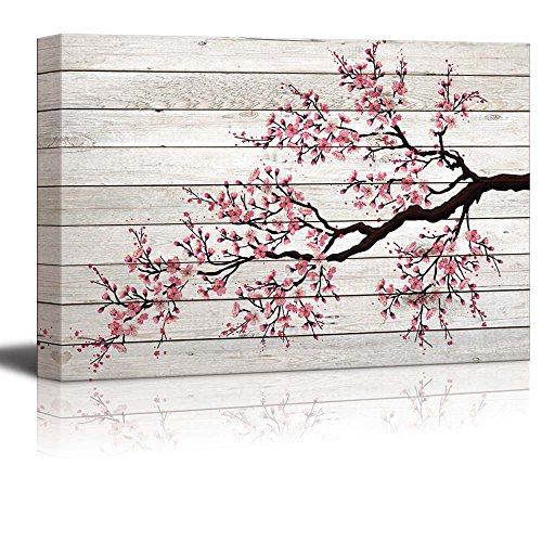 - wall26 - Illustration of a Cherry Blossom Branch Over Wood Panels - Canvas Art Home Decor - 24x36 inches