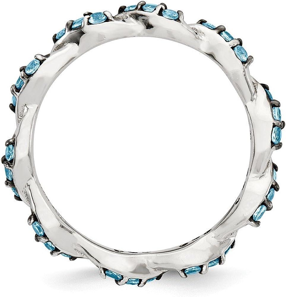 Sterling Silver Light Swiss Blue Topaz Eternity Ring