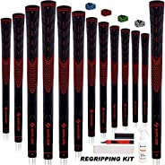 SAPLIZE Golf Grips Standard/Midsize 13 Grips with 15 Free Tapes or 13 Grips with Full Regripping Kit Anti-Slip