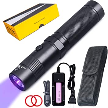rechargeable 365nm uv inspection light,5W black lens,battery included