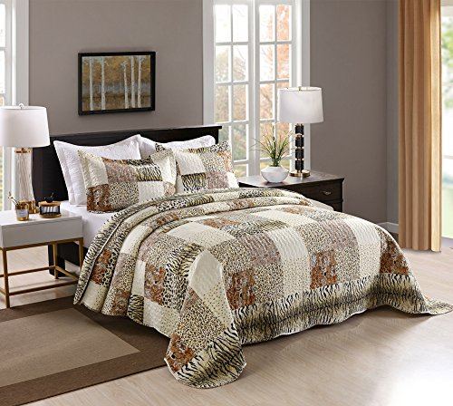 MarCielo 3 Piece Quilted Bedspread Leopard Print Quilt Quilt Set Bedding Throw Blanket Coverlet Animal Print Bedspread Ensemble Cheetah King Oversize(Cal King) - Leopard Print Bedding Set