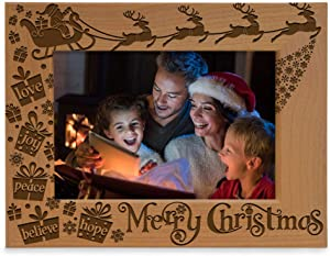 KATE POSH Merry Christmas Love Peace Joy Believe Hope, The Magic of Christmas Family Picture Frame. Santa, Reindeer and Sleigh Decor. Engraved Natural Wood Photo Frame (4x6-Horizontal)
