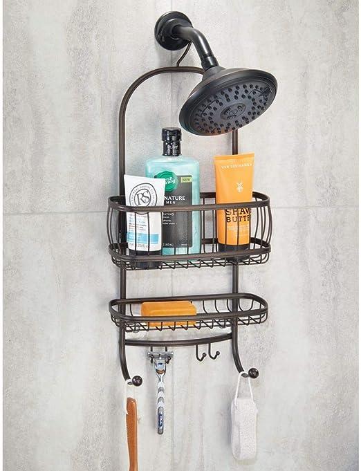 mDesign Organizador de ducha con baldas para baño y ganchos para ...