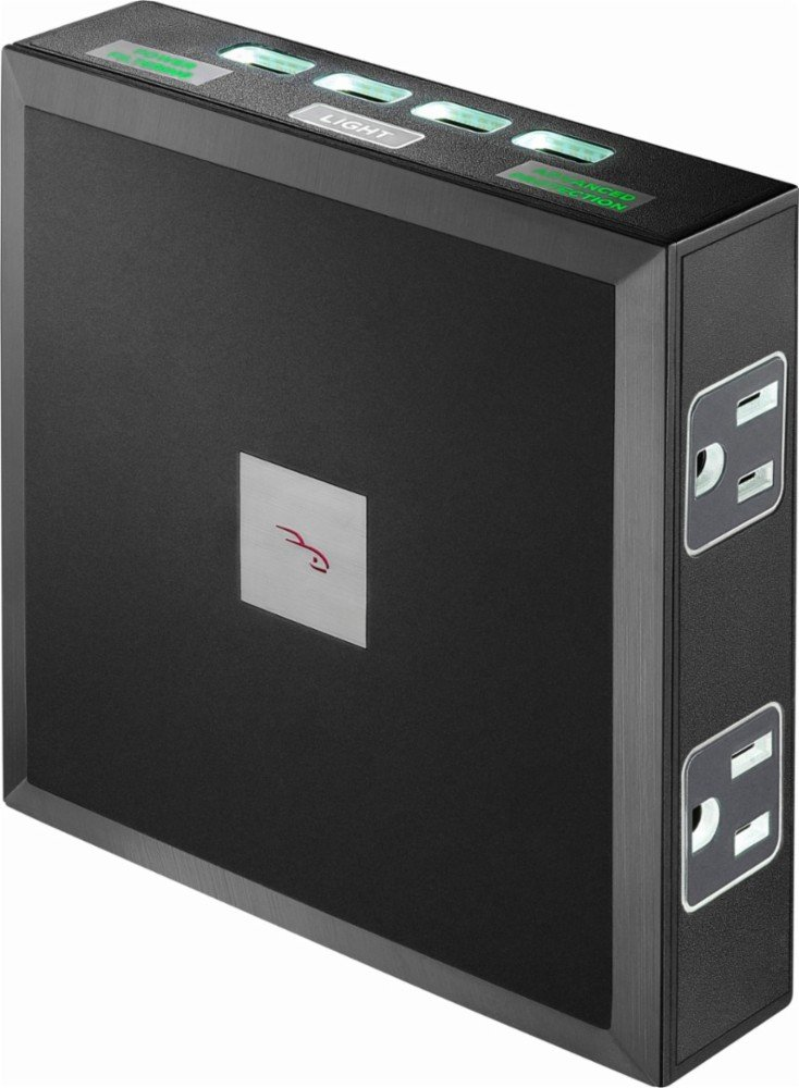 Rocketfish – 6-Outlet 4-USB Wall Tap Surge Protector – Black Electronics
