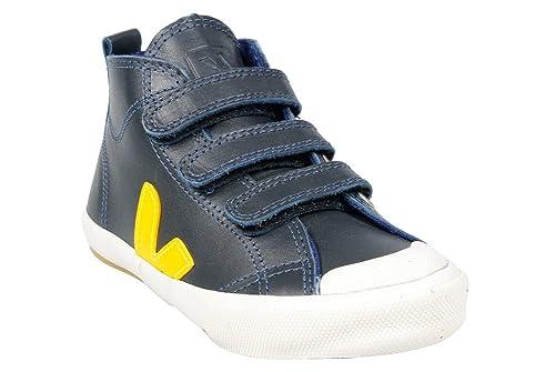 VEJA - Zapatillas de deporte de Otra Piel para niño Bleu Marine / Jaune: Amazon.es: Zapatos y complementos