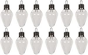 Creative Hobbies Clear Plastic Bulb Shape Ornaments 100mm (4 Inch) Pack of 12
