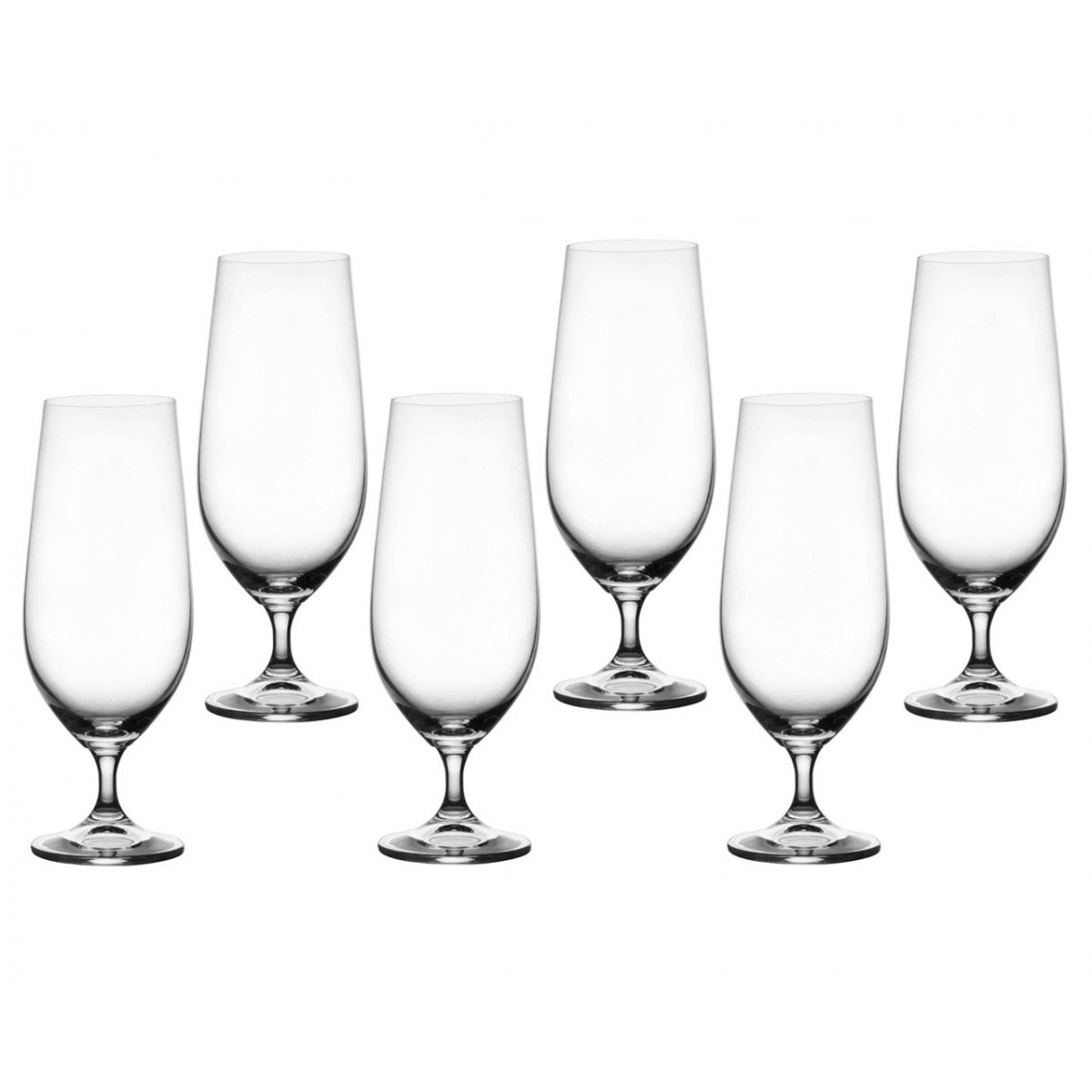 Bohemia Crystal Set of 6 Cecilia Beer Glasses 380ml 13.3oz Clear Glass Wine Ideal Gift for Parties