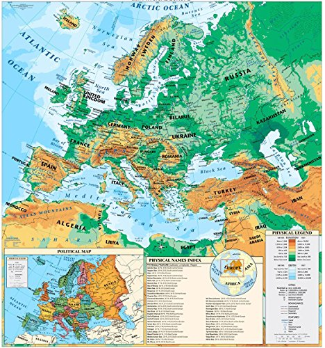Gifts Delight Laminated 24x24 Poster: Physical Map - Cram Europe Physical Roller Map at Hayneedle