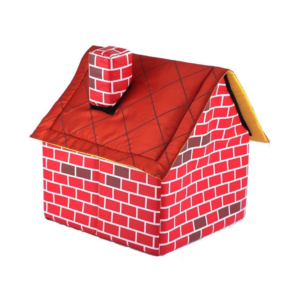 Futurepast Démontable Brique Rouge Pet Maison Chien lit Chambre Simple cheminée Maison Niche chatterie Tente nid