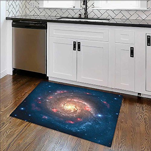 (Thick Soft Plush Living Room Rug al Spiral E x panse beyond Milky Way Planet Astral Art Petrol Blue Easy Clean Resistant W24