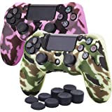 YoRHa Water Transfer Printing Camouflage Silicone Cover Skin Case for Sony PS4/slim/Pro Dualshock 4 controller x 2(pink+yellow) With Pro thumb grips x 8