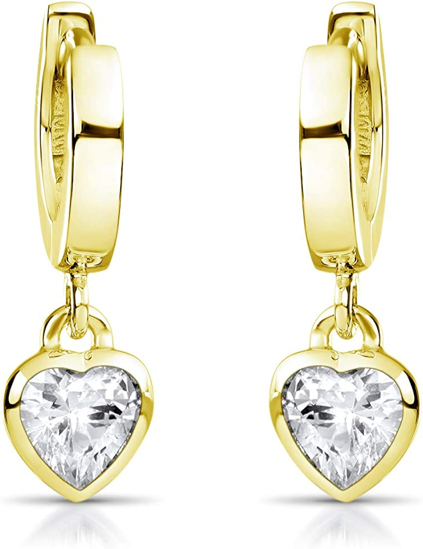 Materia So 389 Gold Children S Earrings Gold Hearts Small Hoop Earrings 925 Silver Gold Plated With Zirconia For Girls In Case Schmuck