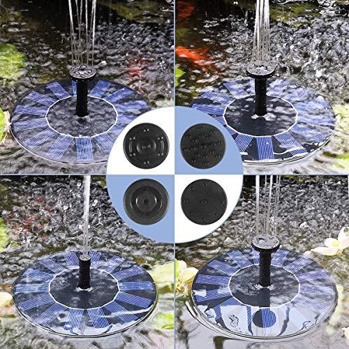 MEYUEWAL Solar Springbrunnen,1.5W Solar Teichpumpe mit Solar Panel Eingebaute Batterie Wasserpumpe Solar Schwimmender Fontäne Pumpe mit 4 Fontänenstile für Garten, Vogel-Bad,Teich,Fisch-Behälter