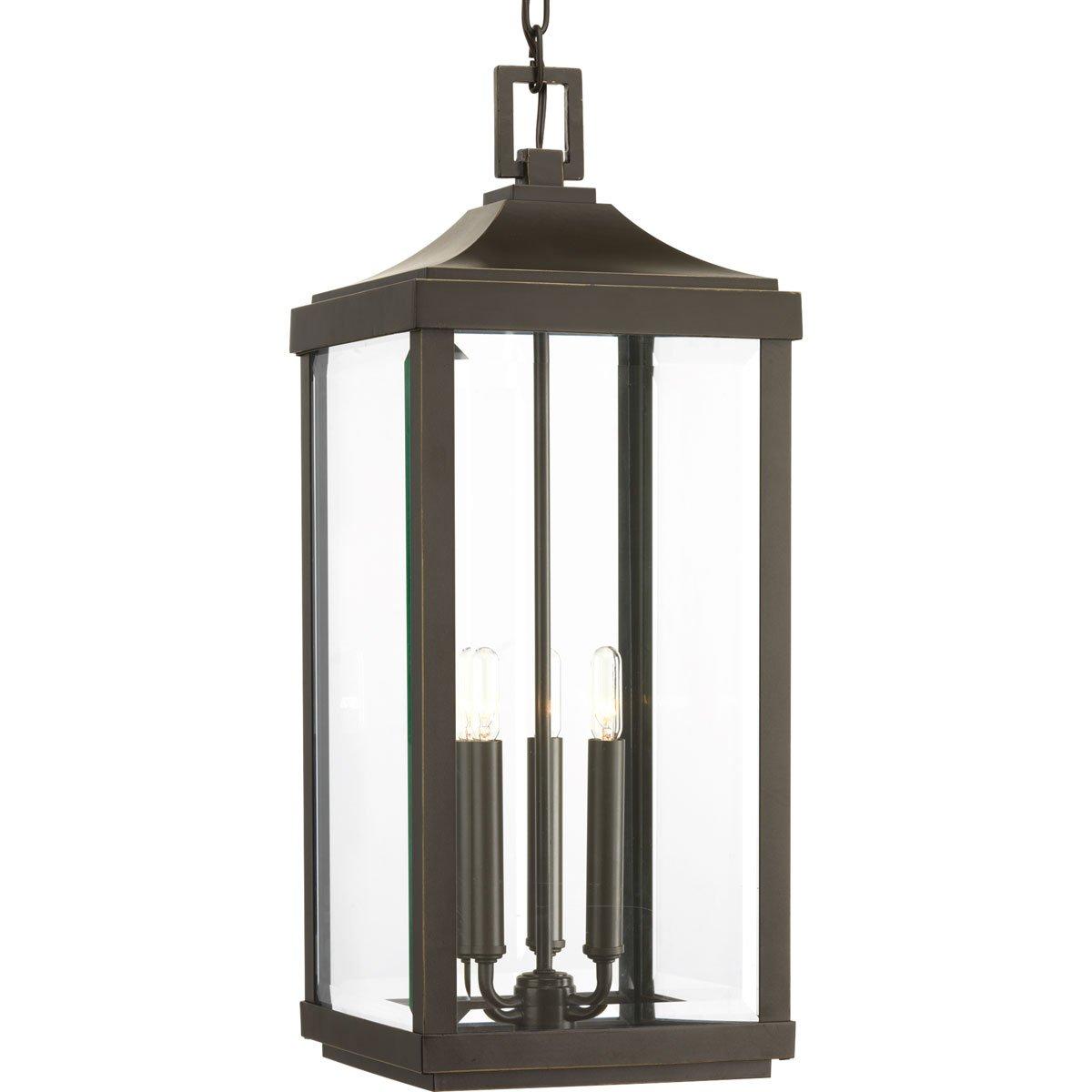 Progress Lighting P550004-020 Gibbes Street Three-Light Hanging Lantern, Brushed Nickel