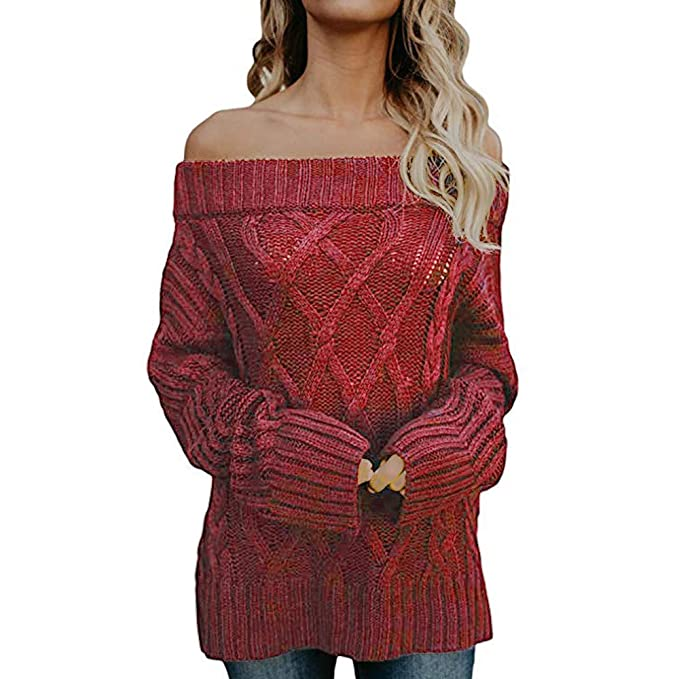 444b81093009 Amazon.com  OSTELY Fashion Women s Autumn Sexy Long Sleeve Off Shoulder  Loose Cable Knit Sweater Pullover Blouse  Clothing