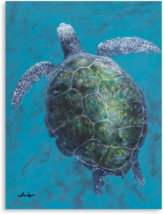 "B BLINGBLING Sea Turtle Bathroom Wall Decor: Turtle Pictures Canvas Print Wall Art Ocean Themed Coastal Bedroom Decor for Kids Bedroom, Nursery Wall Decoration 12""x16"""