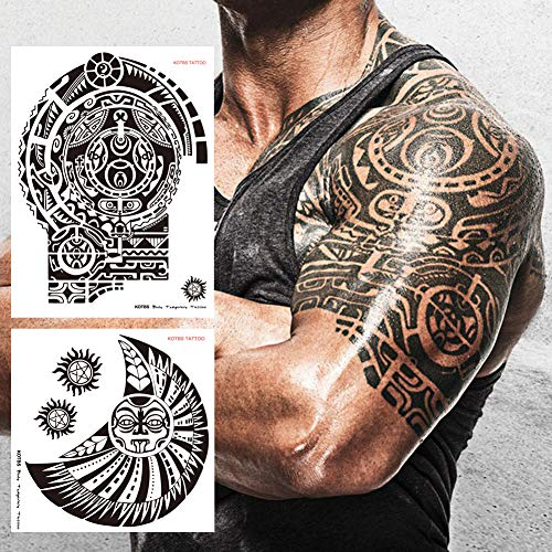 Kotbs 2 Sheets Extra Large Totem Temporary Tattoo Stickers, Waterproof Big Temporary Tattoos for Men Adults Guys Women Body Art Arm Shoulder Chest Make Up Fake Tattoos