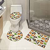 Nursery Printed Cartoon Style Animal Music Band Penguin on Cello Cat on Guitar Panda on Drums Print 3 Piece Toilet Cover set Multicolor