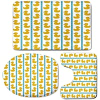 3 Piece Bath Mat Rug Set,Rubber-Duck,Bathroom Non-Slip Floor Mat,Yellow-Duckies-with-Blue-Stripes-and-Small-Circles-Baby-Nursery-Play-Toys-Pattern,Pedestal Rug + Lid Toilet Cover + Bath Mat,White