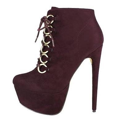 fdefe7e08503 DLHH Ladies Womens Fashion Cold-Weather Platform Stiletto Heel High Heel  Fleece Pumps Shoes Ankle