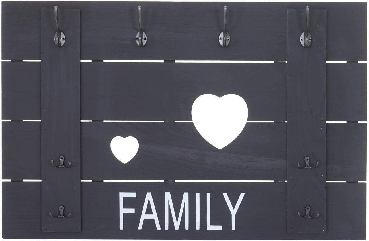 Mendler Portemanteau Mural HWC-C89 8 Crochets 60x90cm ~ Blanc Shabby Family