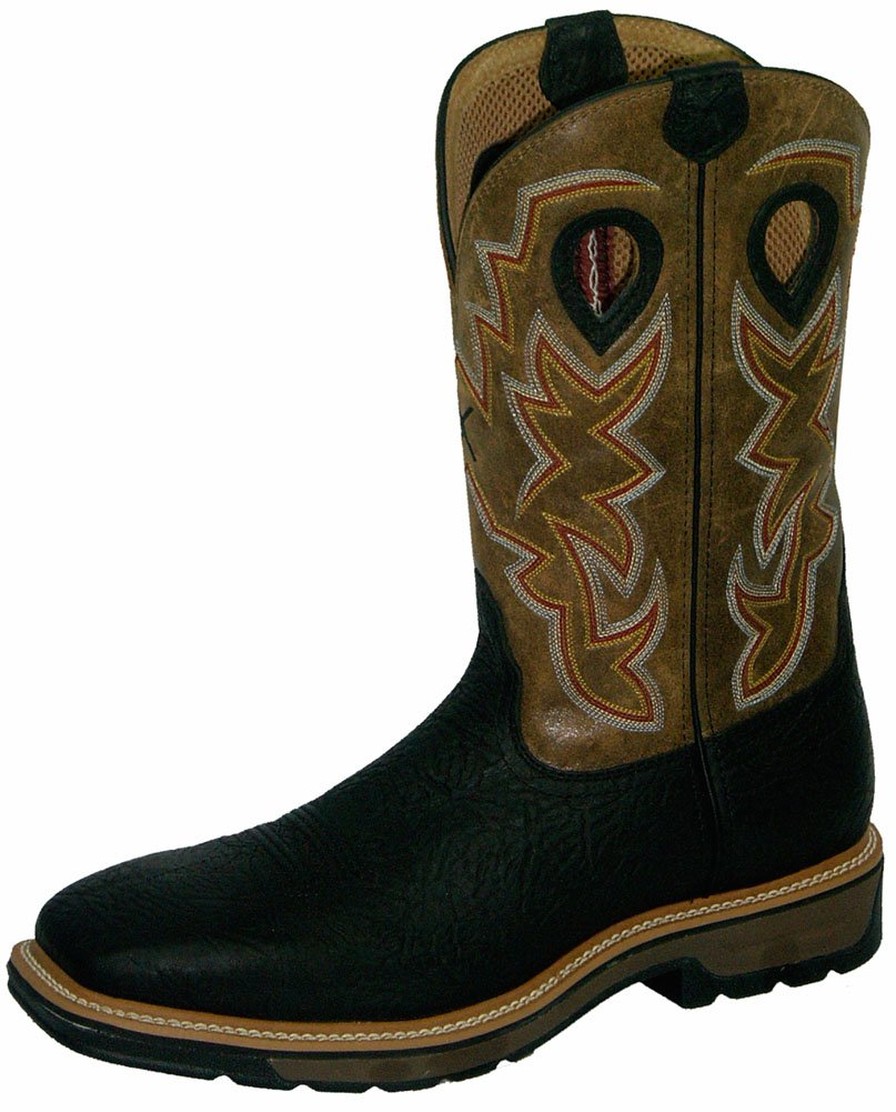 Twisted X Mens Black Leather Steel Toe Lite Weight Cowboy Work Boots 7D