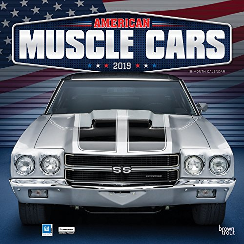 American Muscle Cars 2019 12 x 12 Inch Monthly Square Wall Calendar with Foil Stamped Cover, USA Motor Ford Chevrolet Chrysler Oldsmobile Pontiac