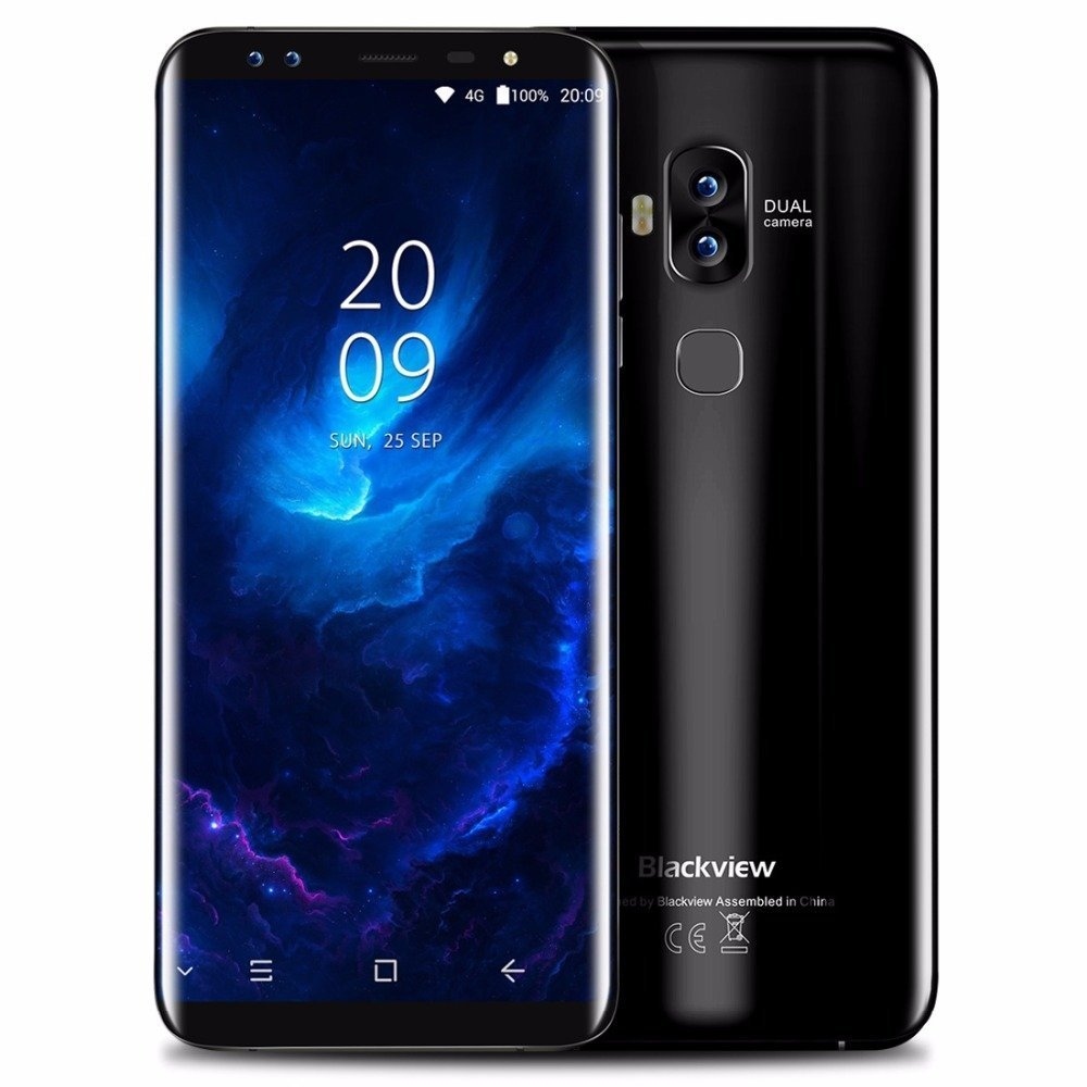 Blackview S8 - (relación 18: 9) Teléfono Inteligente 5.7G 4G Android 7.0 DE 5.7 Pulgadas, Octa-Core 4GB + 64GB, Cuatro cámaras, Ultra Delgado con batería de 3180mAh - Negro