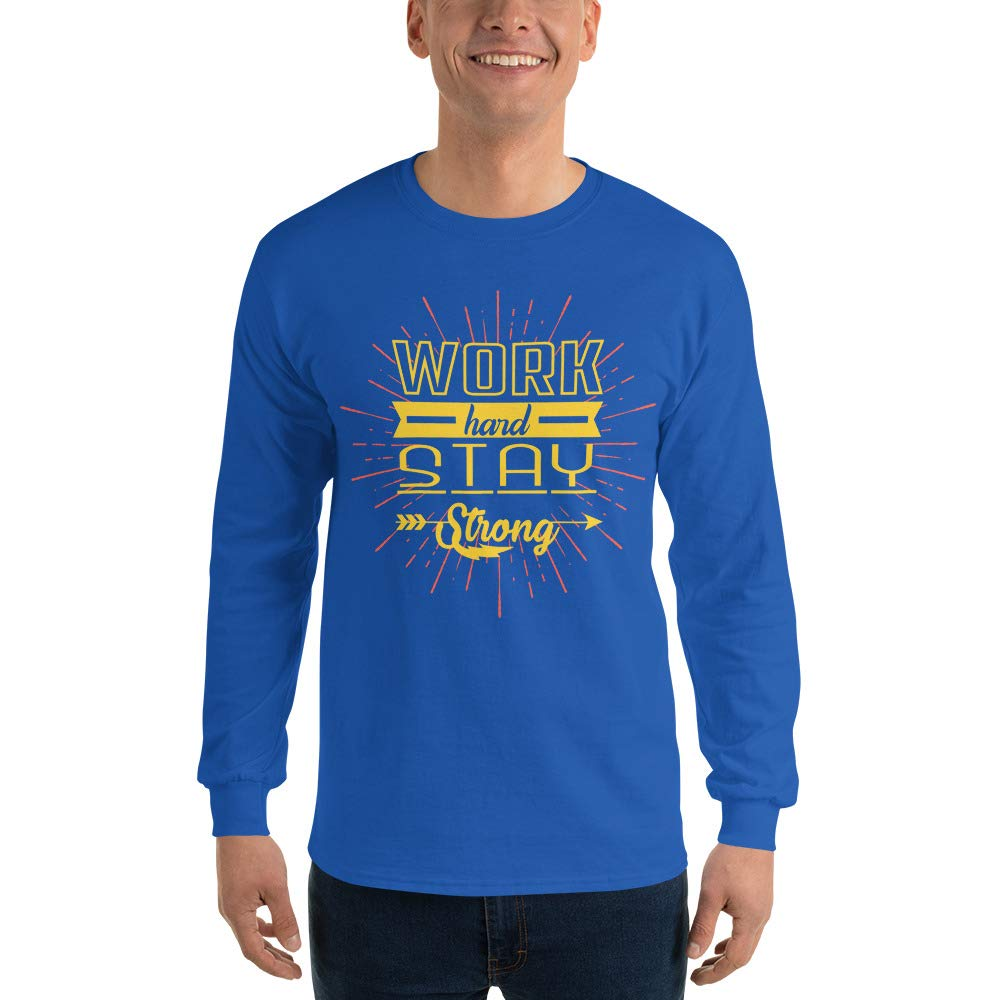 Spicy Cold Apparel Work Hard Stay Strong Long Sleeve T Shirt 100/% Cotton Funny T-Shirt for Men Graphic