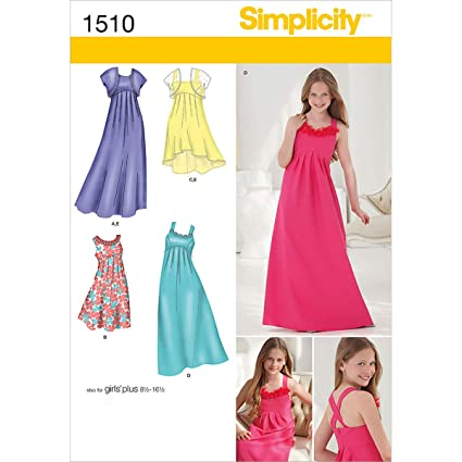 Amazon.com: Simplicity 1510 Girls\' Plus Size Special Occasion Dress ...