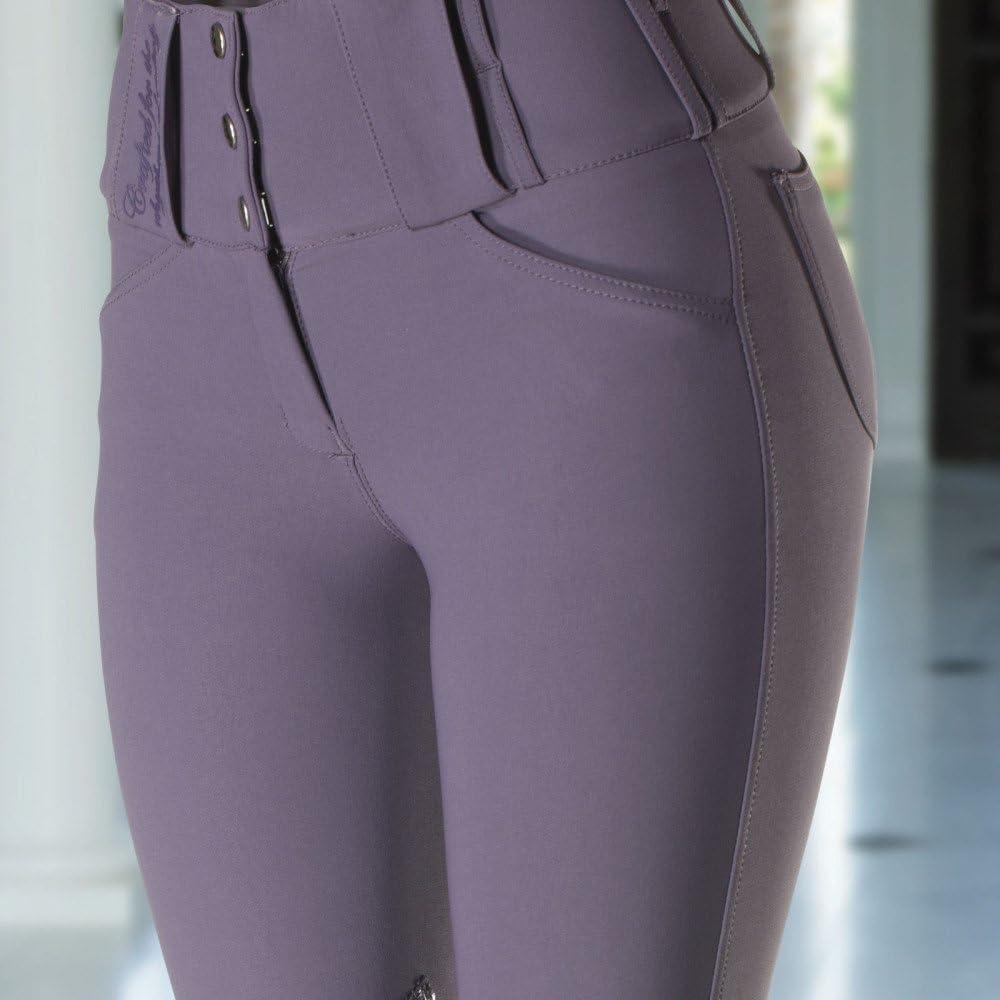 Horze Desiree Ulti Comfort Womens High Waist Knee Patch Breeches Grape Juice Purple 24