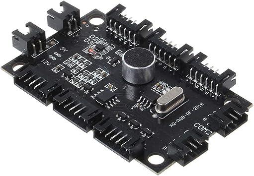 Cbcigbudg Ajustable Music Computer PC Panel de Control del Controlador de Ventilador de refrigeración RGB para CPU + IR Control Remoto Accesorios de disipador de Calor: Amazon.es: Electrónica