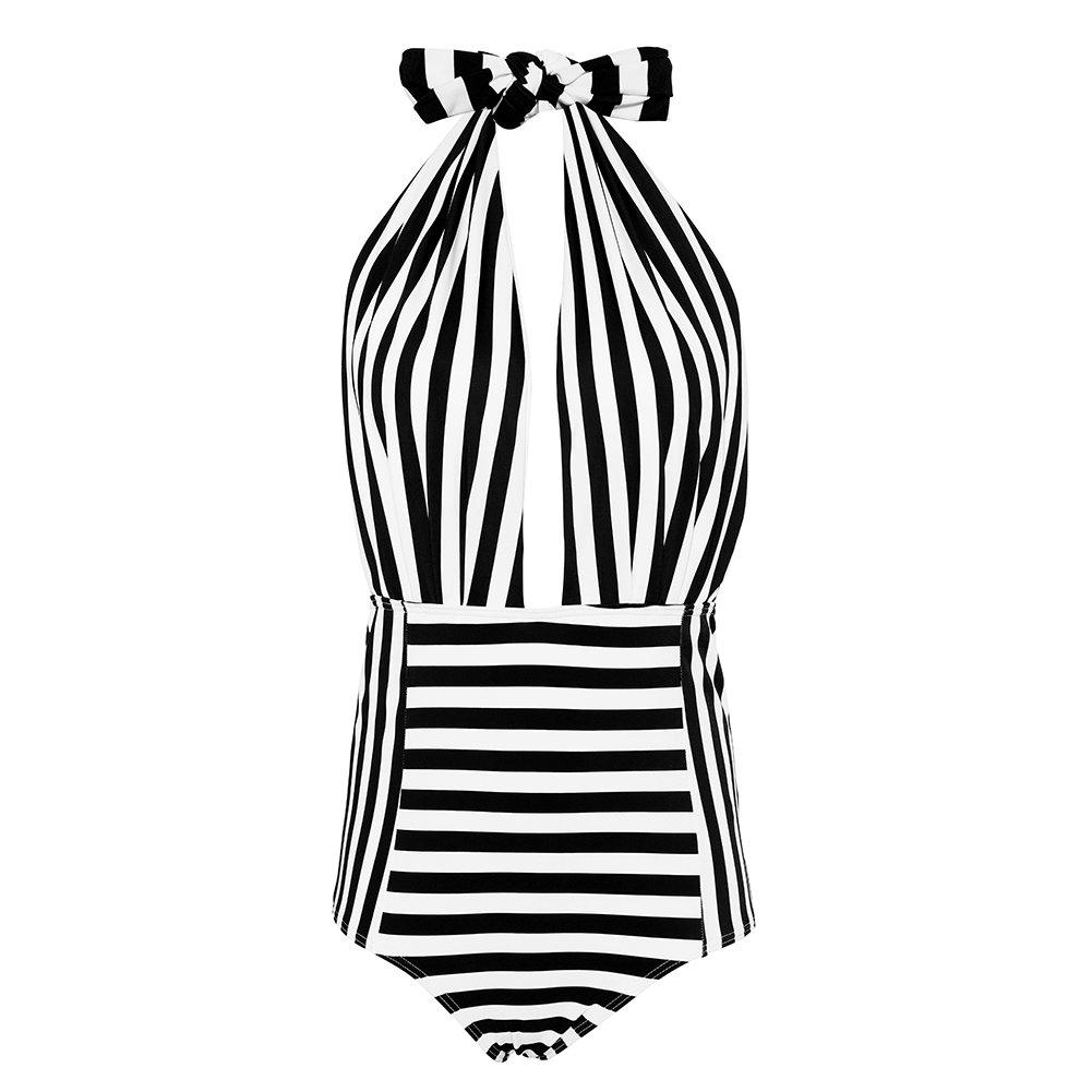 SARA SWIM Retro One Piece Halter Bathing Suit Deep Plunge Neckline High Waisted Pin-up Backless Bathing Suit (M, Black&White Stripe)