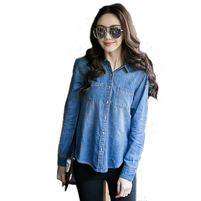 e-fak de la mujer Denim blusa azul Tops botón Jeanswear camiseta