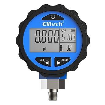 Elitech PG-30Pro Blue Refrigeration HVAC Digital Pressure Gauge for 87+  Refrigerants with Backlight 0-500 PSI 1/8 NPT