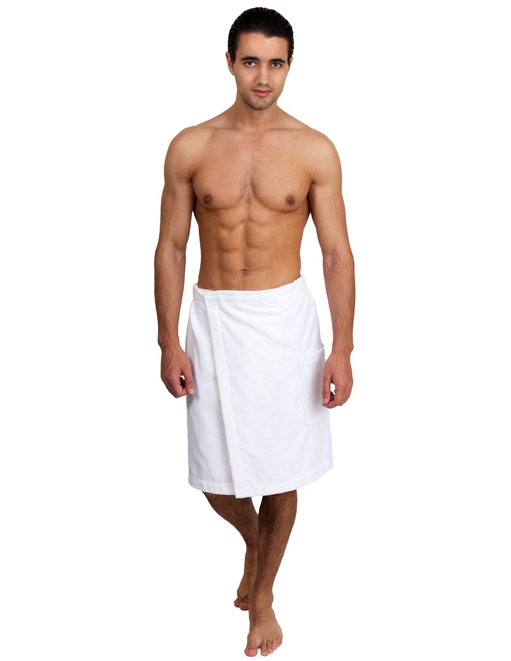 TowelSelections Men's Wrap, Shower & Bath, Terry Velour Towel Small/Medium White