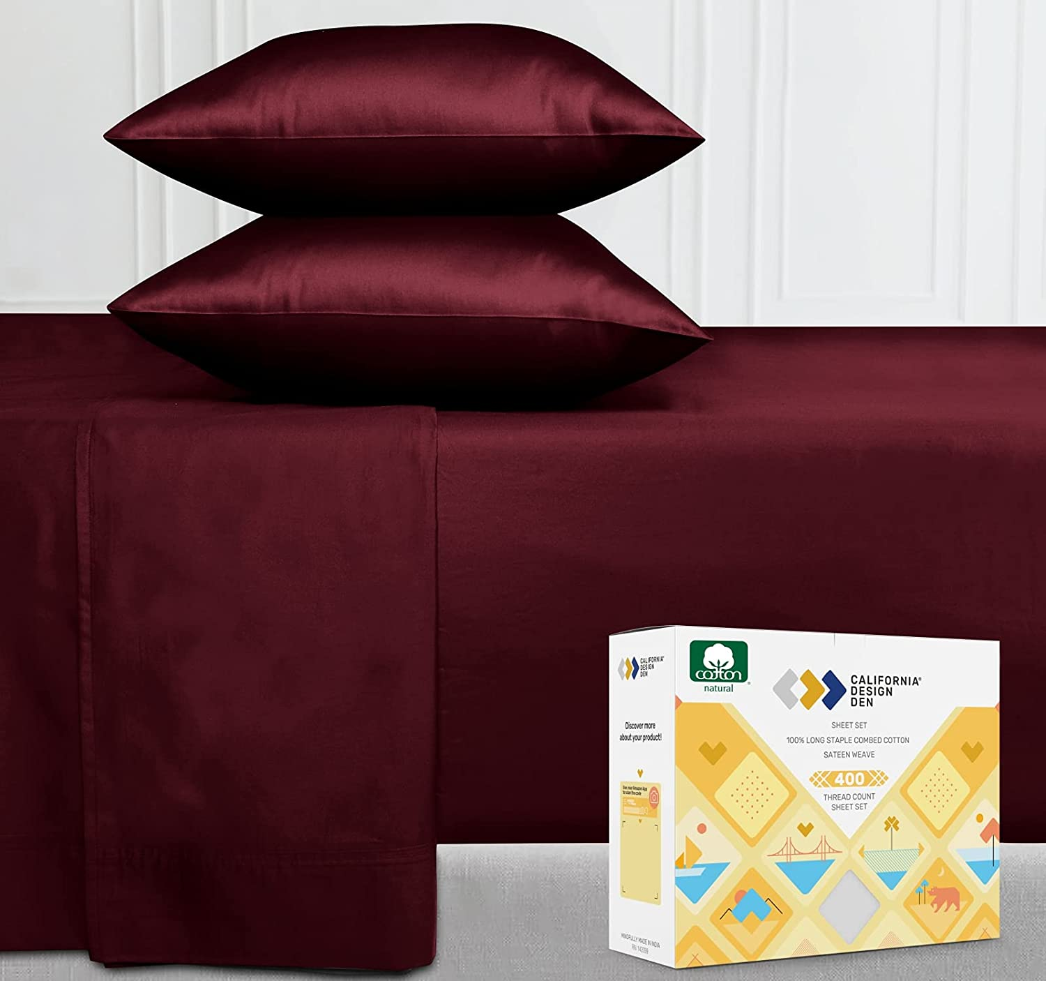 Pure Cotton Twin Sheet Set - Burgundy Red Wine 400 Thread Count Sheets, Breathable Sateen Weave 3 Piece Bedding Set, Elasticized Deep Pocket Fits Low Profile Foam and Tall Mattresses