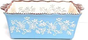 Temp-tations 1.5 Qt Loaf Pan for Meat Loafs or Breads, Scalloped Edge, Tab Handles (Floral Lace Light Blue)