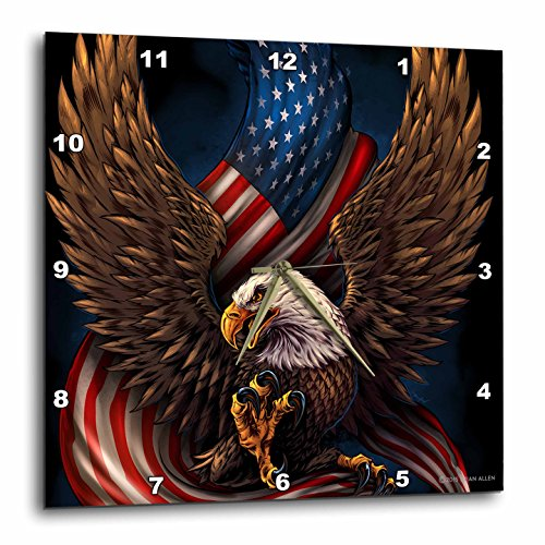 3D Rose Bald Eagle with and American Flag Between its Talons Wall Clock, 15 x 15