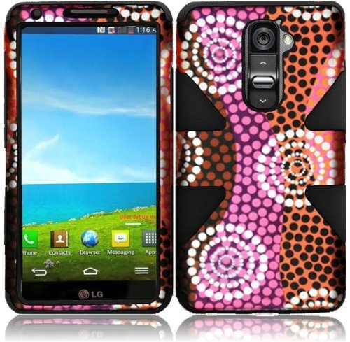 T-mobile G2 Two Piece - Vintage Folk Breeze Double Protection Hi-Tech DURABLE Two in One Hard and Silicon Cover Case for LG G2 VS980 D800 (by AT&T / T-Mobile / Sprint / Verizon) with Free Gift Reliable Accessory Pen
