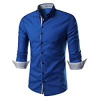 C2S Men's Regual Fit Solid Long Sleeves Dress Shirts for More Colors