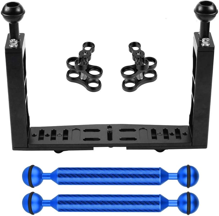 KANEED Dual Handle Aluminium Tray Stabilizer with Dual Ball Aluminum Alloy Clamp /& Floating Arm for Underwater Camera Housings Color : Blue Black